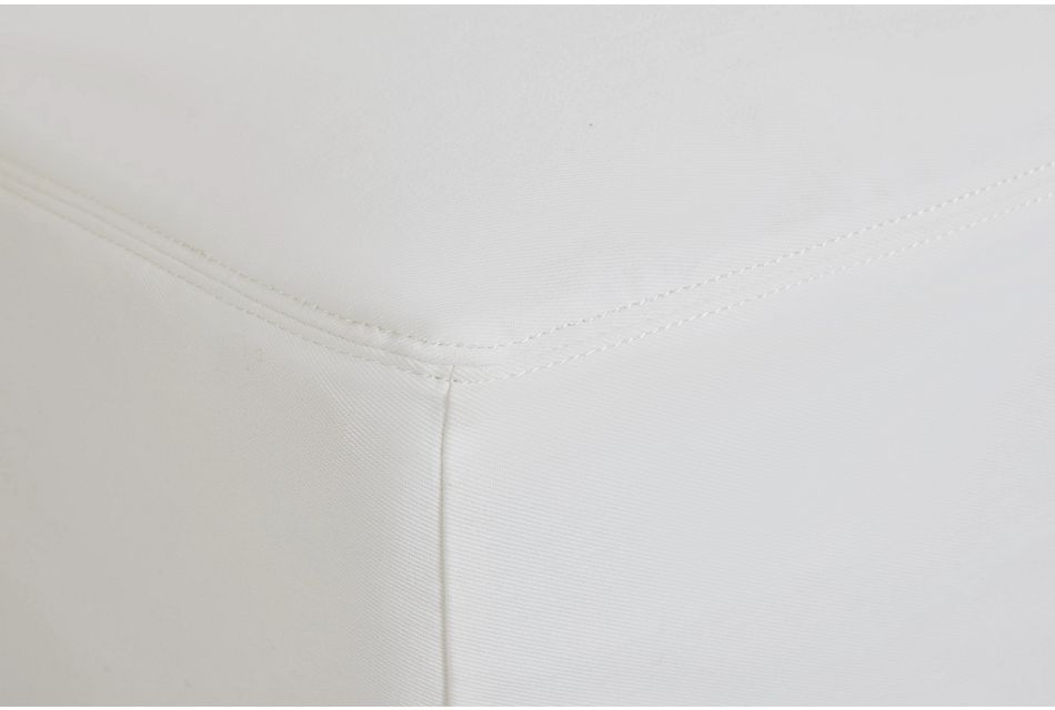 Delilah White Fabric Ottoman
