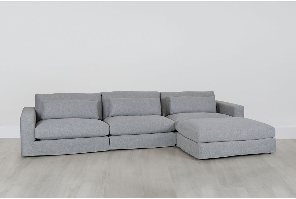 Cozumel Light Gray Fabric 4-piece Chaise Sectional