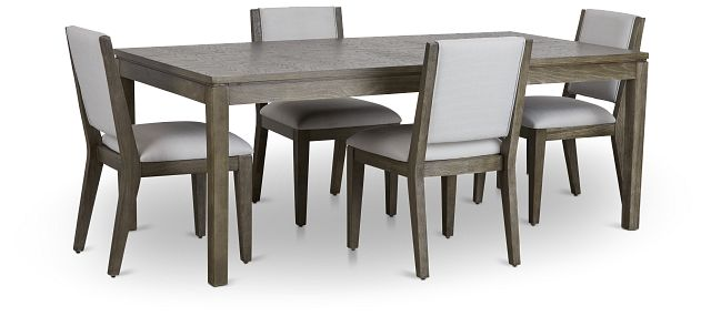 Bravo Dark Tone Rect Table & 4 Upholstered Chairs (1)