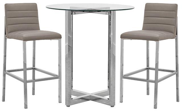 Amalfi Taupe Glass Pub Table & 2 Upholstered Barstools (0)