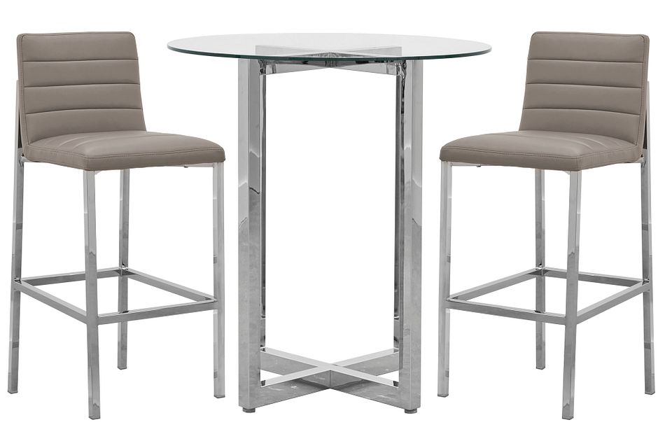 Amalfi Taupe Glass Pub Table & 2 Upholstered Barstools