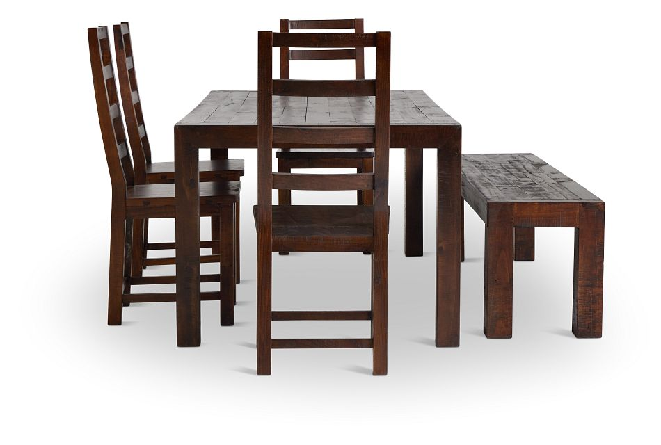 Seattle Dark Tone Rect Table, 4 Chairs & Bench,  (2)