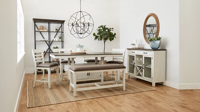 Huntsville Two-tone Rect High Table, 4 Barstools & High Bench (1)