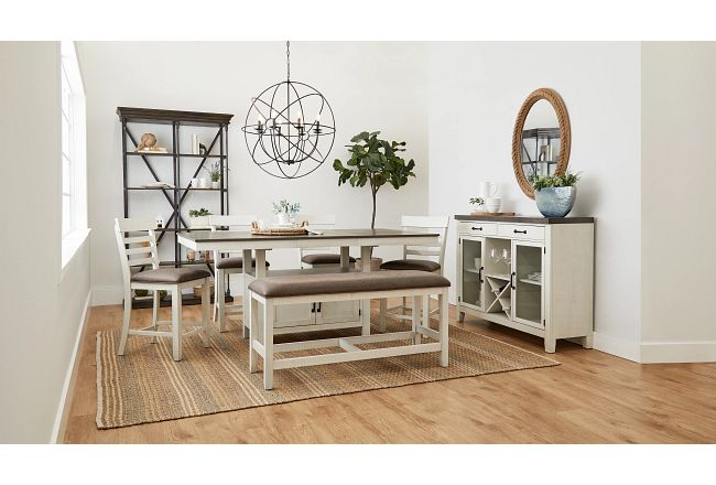 Huntsville Two-tone Rect High Table, 4 Barstools & High Bench