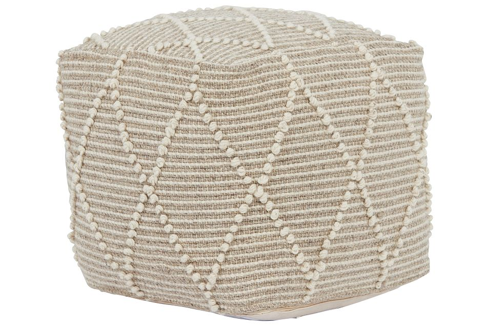 Ordsal Light Beige Accent Pouf