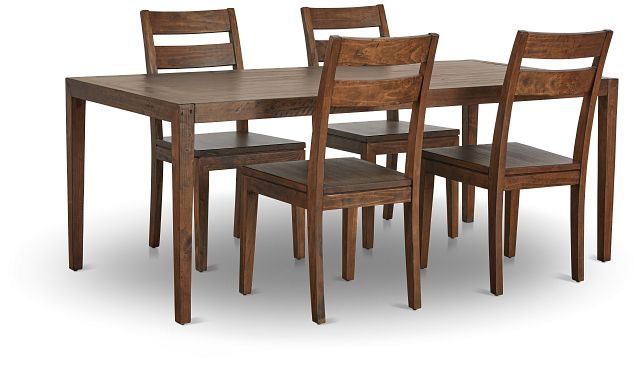 Chicago Dark Tone Rect Table & 4 Wood Chairs (2)