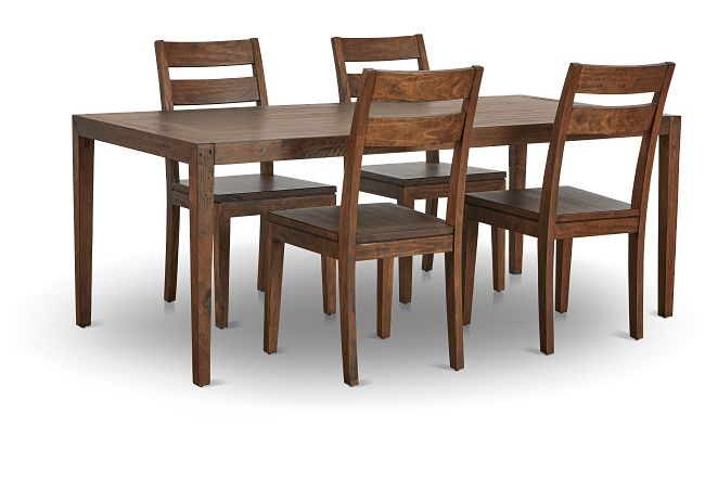 Chicago Dark Tone Rect Table & 4 Wood Chairs