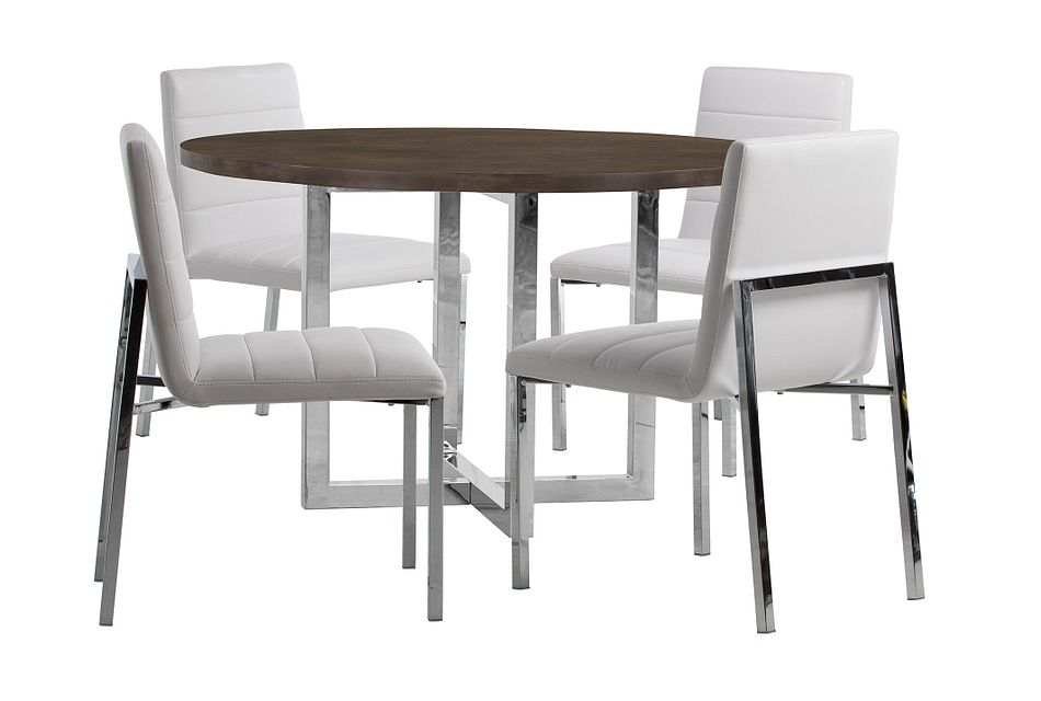 Amalfi White Wood Round Table & 4 Upholstered Chairs