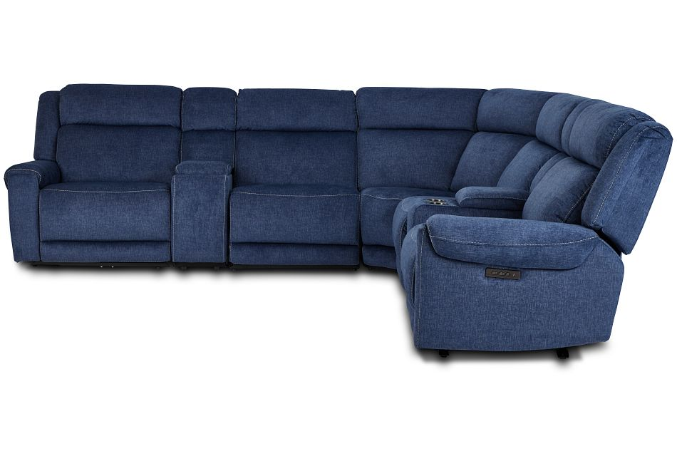 Beckett Dark Blue Micro Large Triple Power Reclining Two-arm Sectional