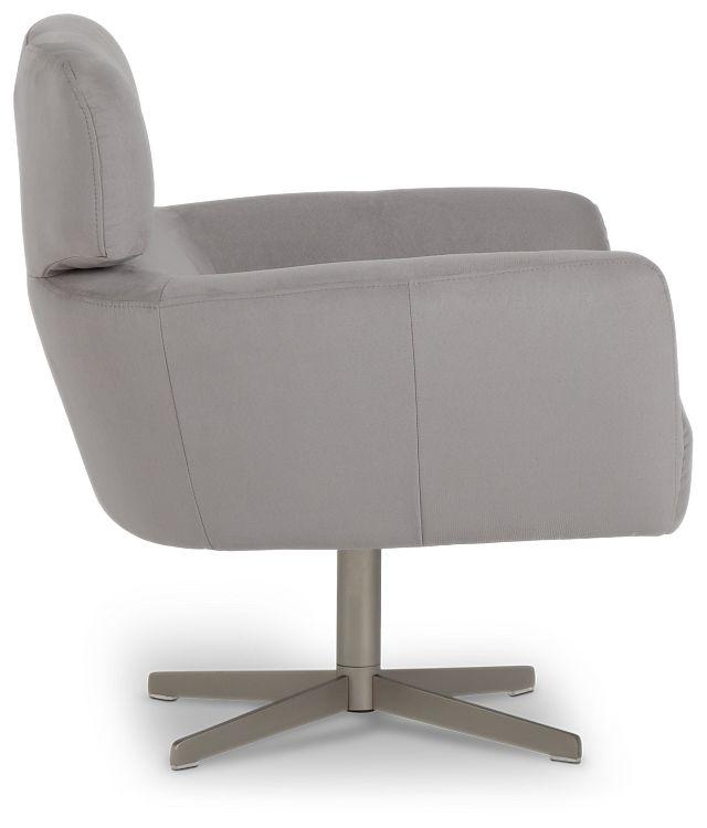 Wynn Light Gray Micro Swivel Accent Chair (1)