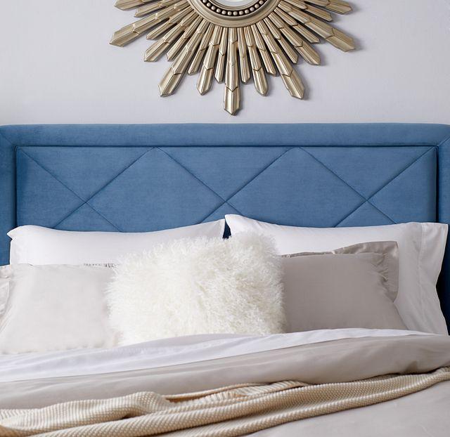 Collin Blue Velvet Platform Bed (3)