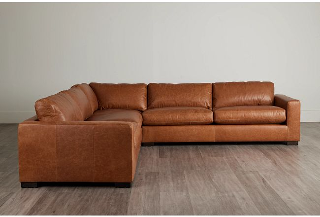 Bohan Brown Leather Large Two-arm Sectional