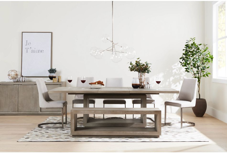 Madden Light Tone Rect Table & 4 Chairs,  (1)