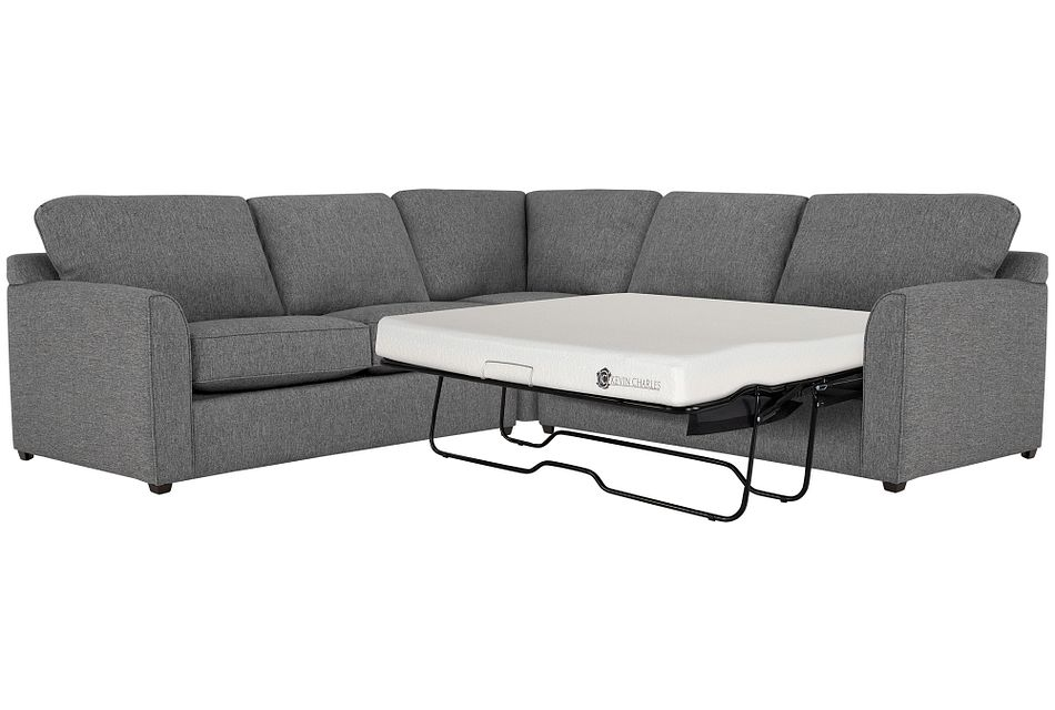 Asheville Gray Fabric Two-arm Right Memory Foam Sleeper Sectional