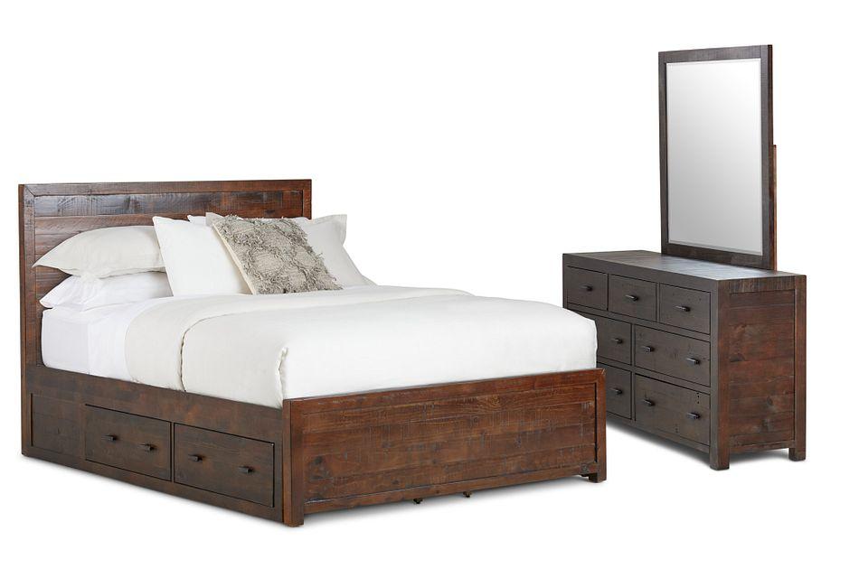 Seattle Dark Tone Wood Platform Storage Bedroom