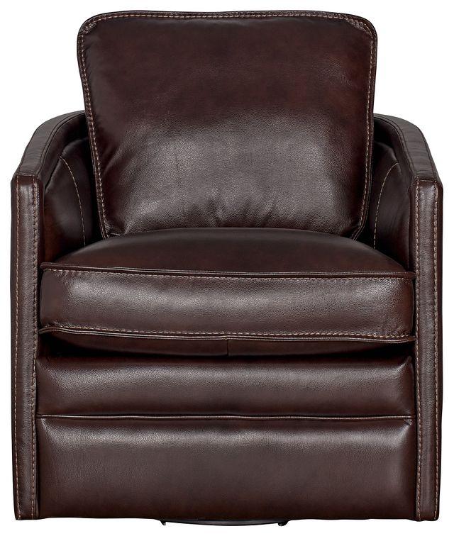 Alexander Dark Brown Leather Swivel Chair (1)