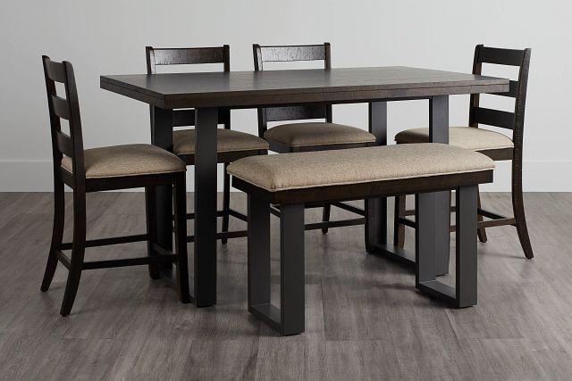 Sawyer Dark Tone High Table, 4 Barstools & High Bench (0)
