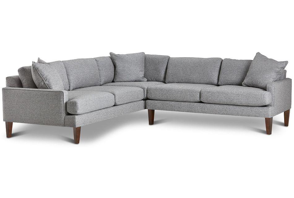 Morgan Dark Gray Fabric Medium 2-arm Sectional W/ Wood Legs
