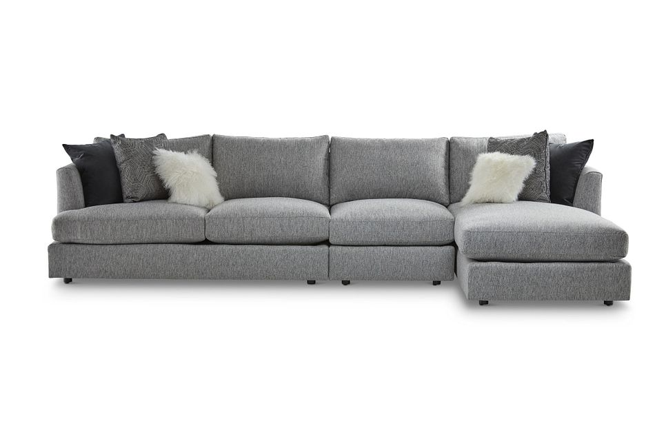 Sydney GRAY FABRIC Small Right Chaise Sectional