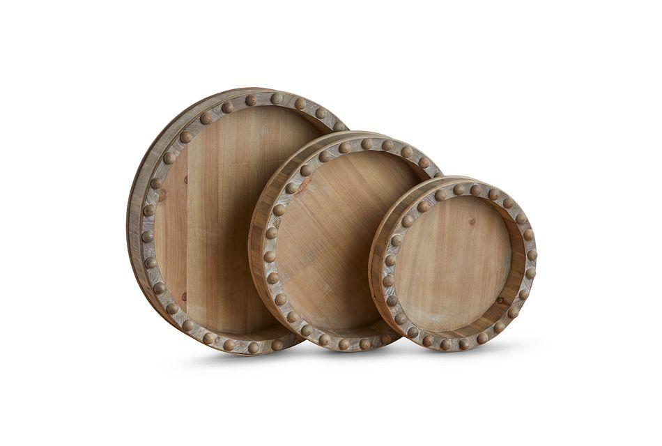 Bessy Wood Set Of 3 Tray