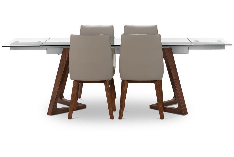 Fresno Glass Taupe Rectangular Table & 4 Upholstered Chairs