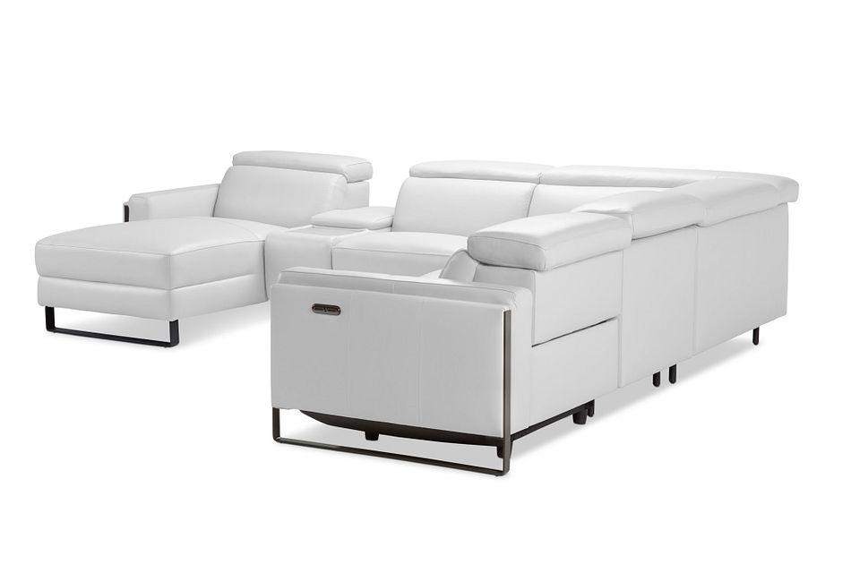 Atlas White Lthr/vinyl Medium Power Reclining Left Chaise Sectional