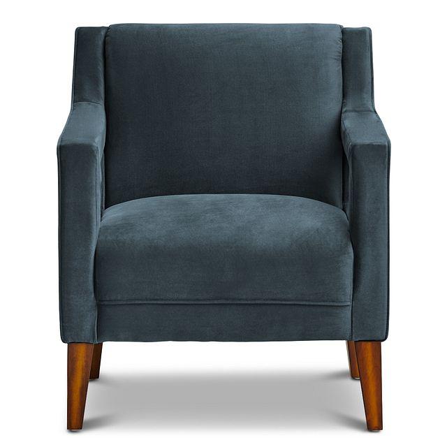 Dawson Dark Blue Velvet Accent Chair (2)