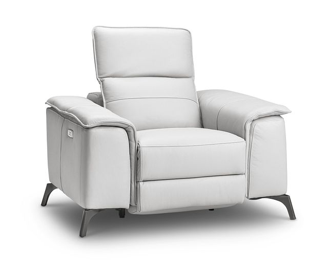 Pearson White Leather Power Recliner With Power Headrest (0)