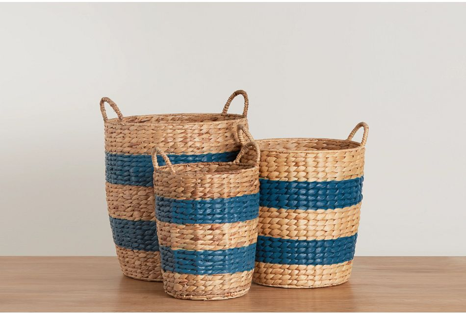 Maddie Set Of 3 Stripe Basket