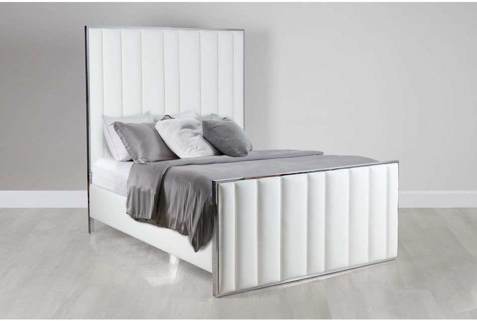 Ocean Drive White Metal Panel Bed