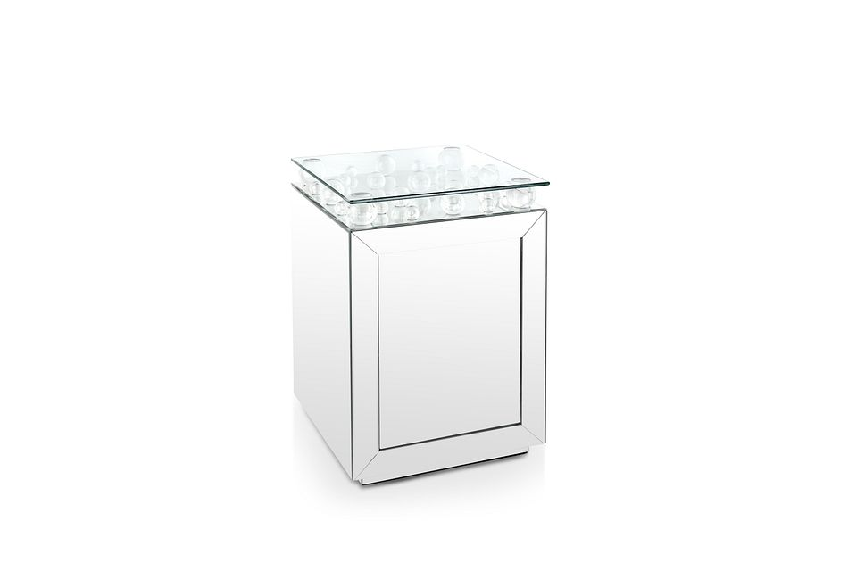 Arias Silver Mirrored Accent Table