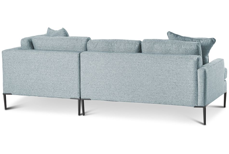 Morgan TEAL FABRIC Small Right Bumper Sectional w/ Metal Legs,  (3)
