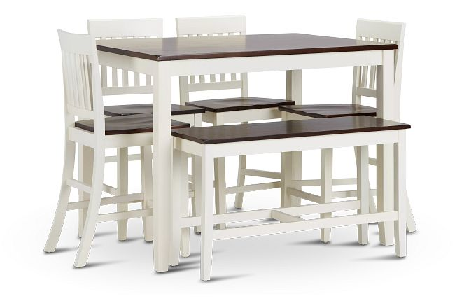 Santos White Two-tone High Table, 4 Barstools & High Bench