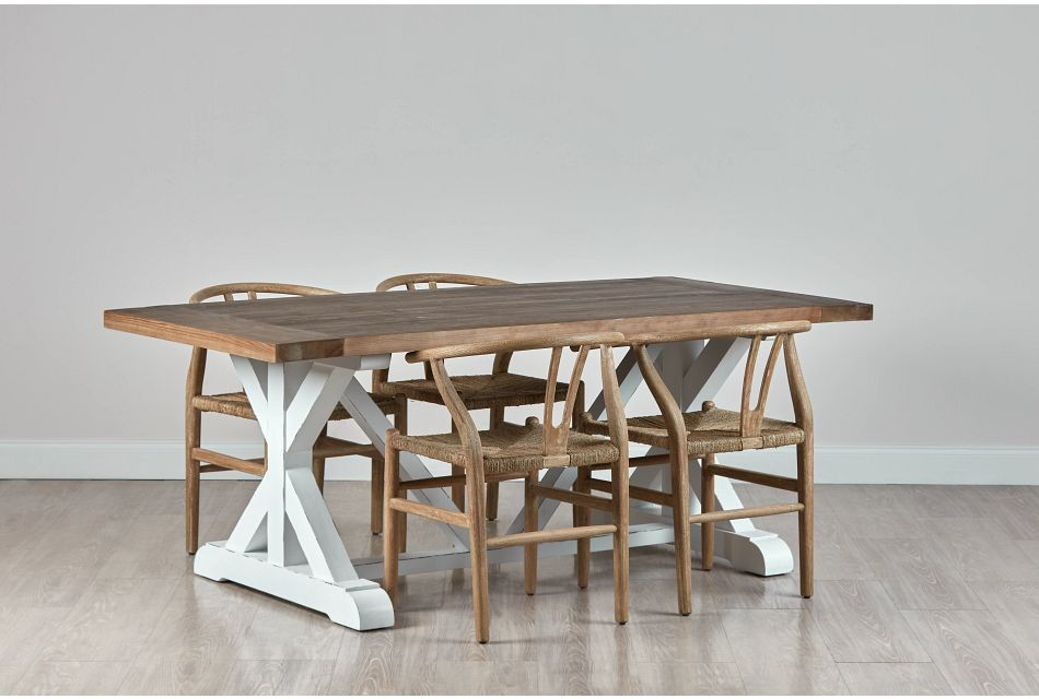 "Hilton Light Tone 79"" Table & 4 Wood Chairs"