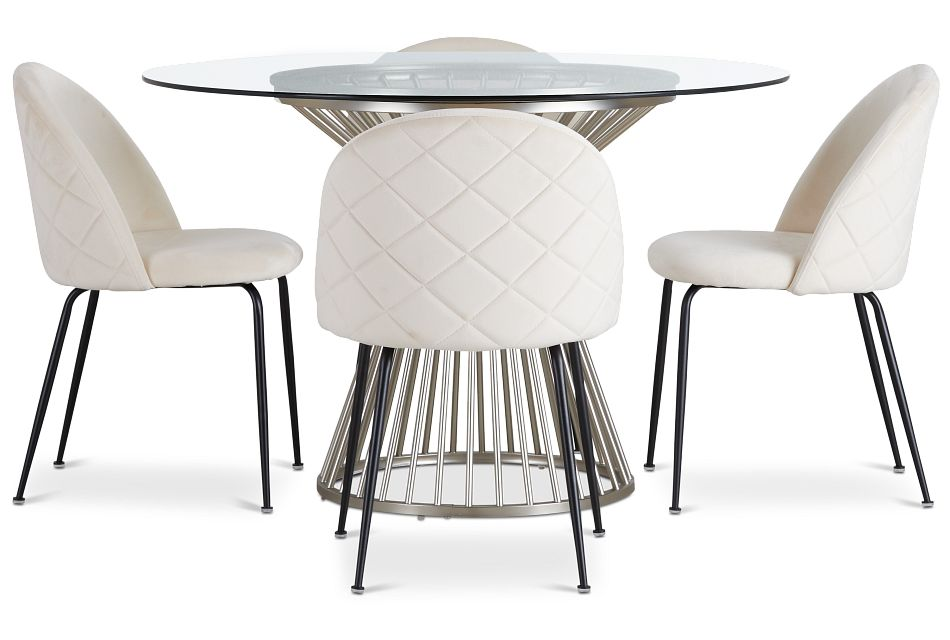 Munich Silver Glass Table & 4 Upholstered Chairs,  (2)