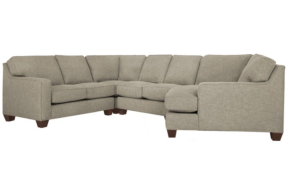 York Pewter Fabric Small Right Cuddler Sectional