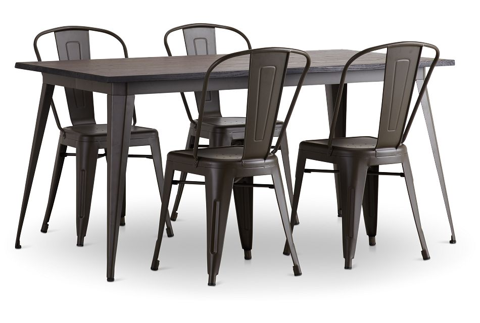 Harlow Dark Tone Rect Table & 4 Metal Chairs