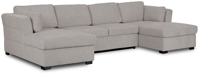 Amber Light Gray Fabric Double Chaise Sleeper Sectional (1)