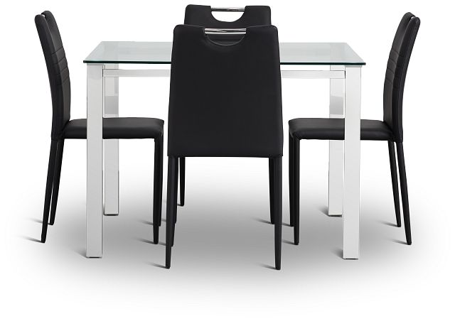 Skyline Black Square Table & 4 Upholstered Chairs (3)