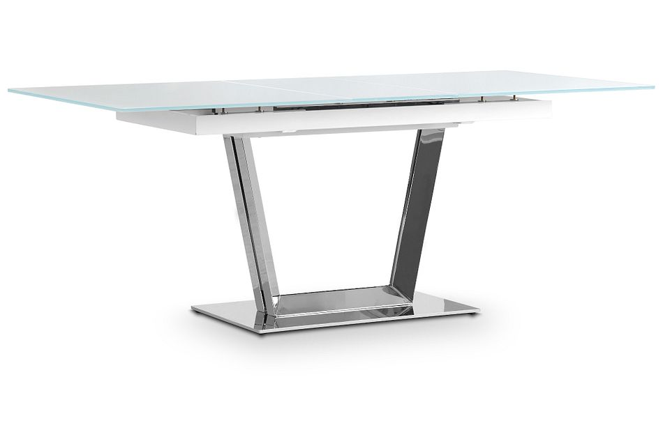 Treviso White Glass Rectangular Table