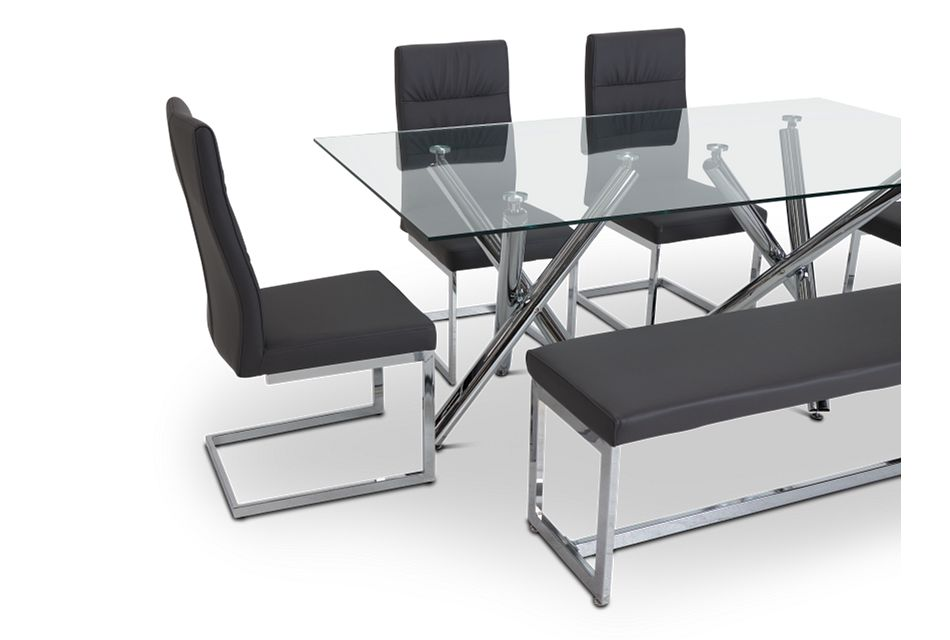 Quincy Glass Gray Table, 4 Chairs & Bench