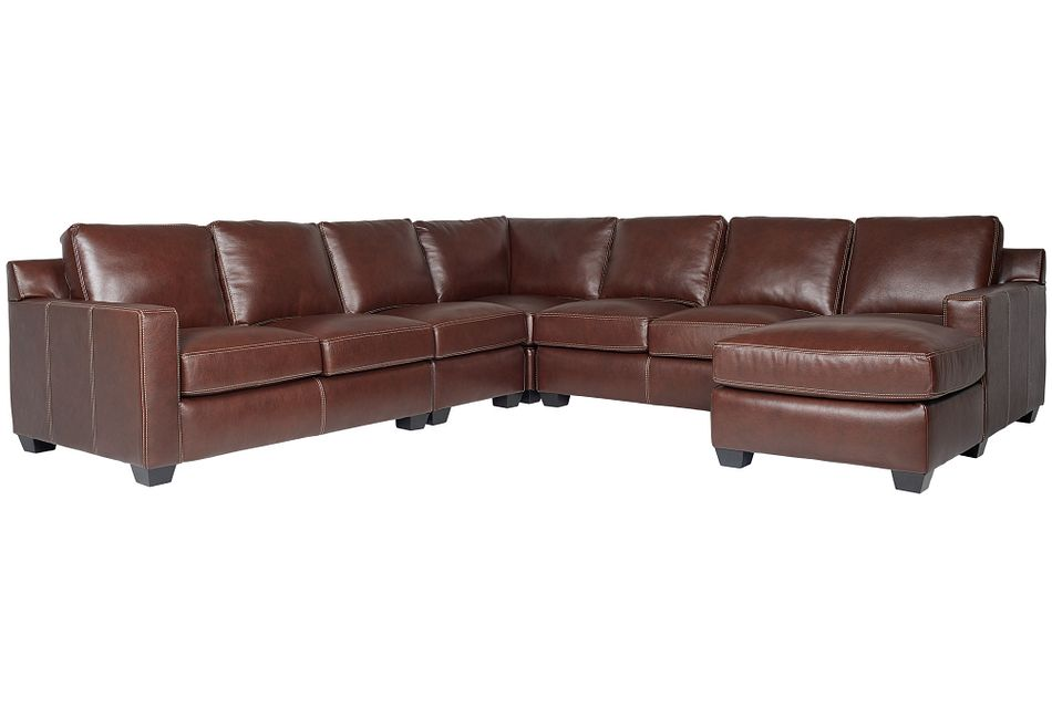 Carson Medium Brown Leather Large Right Chaise Sectional,  (0)