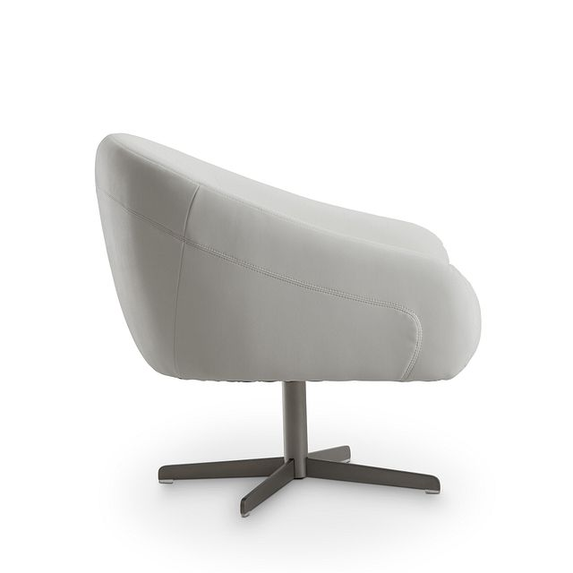 Frankie White Swivel Accent Chair (2)