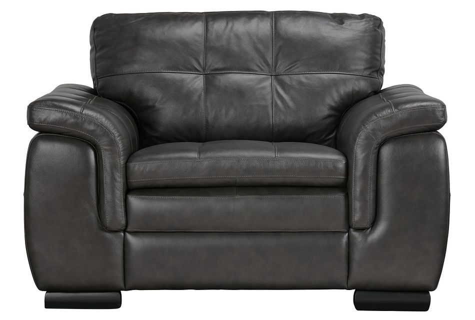 Trevor Dark Gray Leather Chair