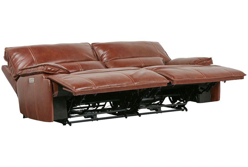 Jesse Medium Brown  Lthr/vinyl Power Reclining Sofa,  (3)