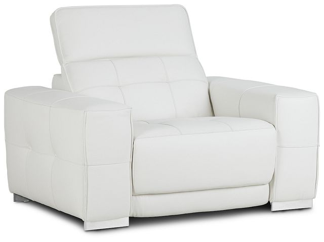Reva White Leather Power Recliner With Power Headrest (1)