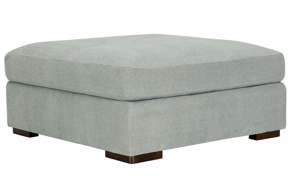 Belair Light Blue Fabric Cocktail Ottoman