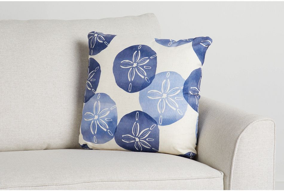 "Sand Dollar Blue Fabric 18"" Accent Pillow,  (0)"