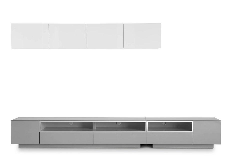 "Vancouver 134"" Gray White 6-piece Left Modular Entertainment Wall"