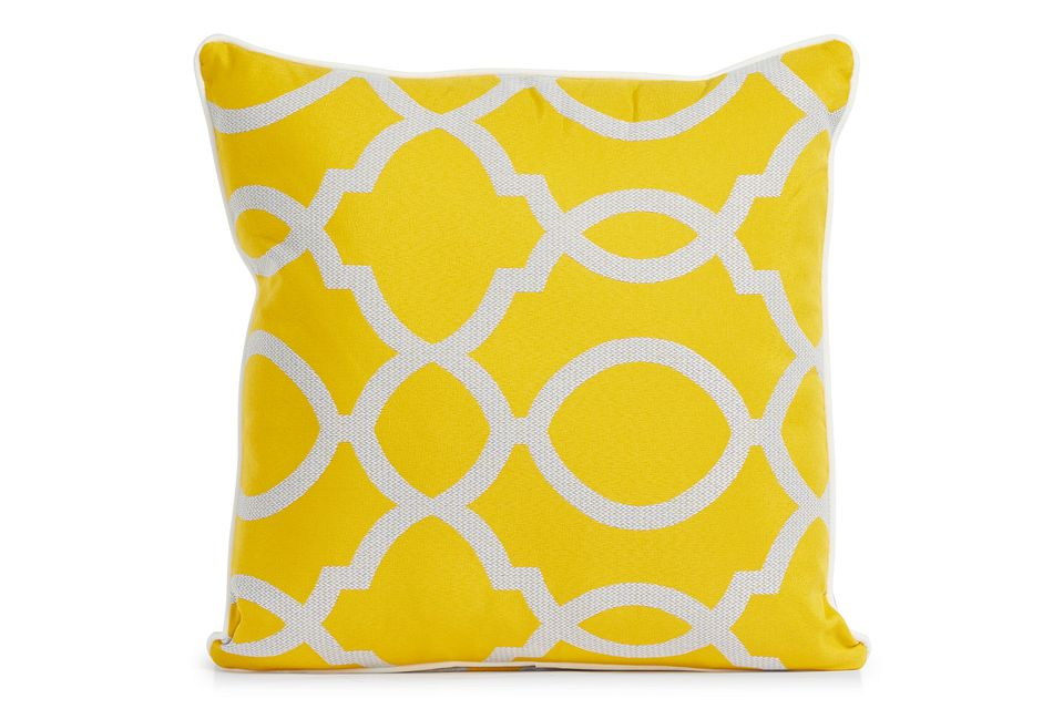"Clover Yellow 18"" Indoor/outdoor Square Accent Pillow"